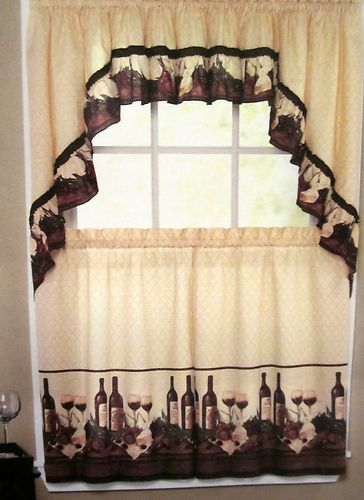Set valance swags tuscan kitchens window curtains kitchen curtains
