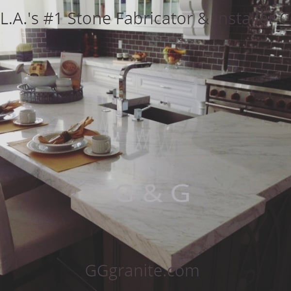 White Marble Kitchen Island Countertop Farm Sink White Marble