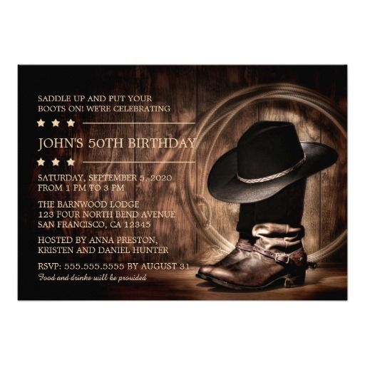 Country Western Wild West 50th Birthday Party 5x7 Paper Invitation Card