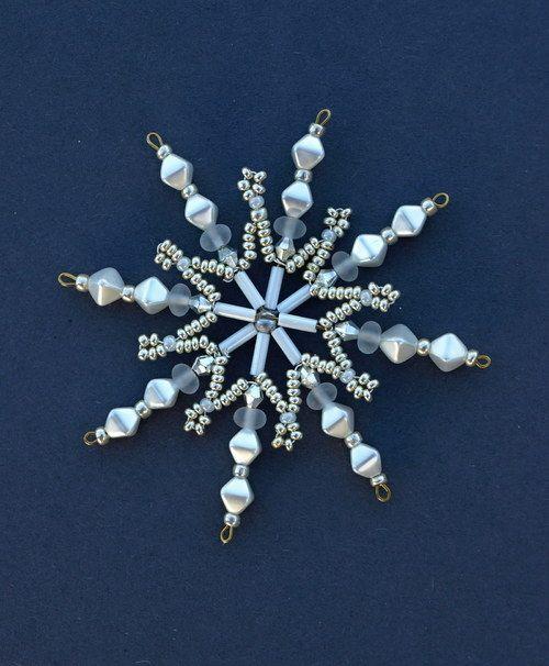 Hvězda z korálků malá Ledová