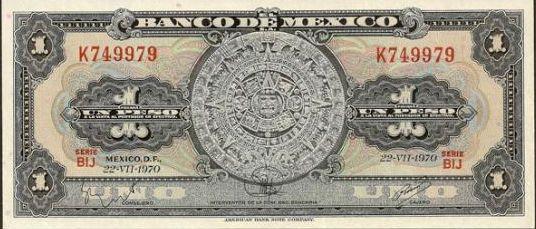 La Piedra del Sol entre los primeros tres billetes emitidos por El Banco de México.