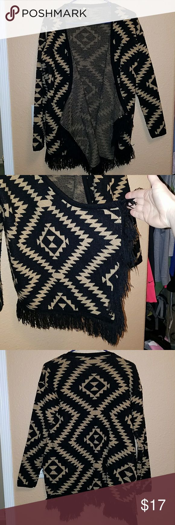 Aztec print cardigan. Super soft Aztec  print cardigan. This is so cute. Has extra length in the front so it hangs down very stylish like. 100%cotton. Very warm. Tag says size s/m. LLOVE Sweaters Cardigans