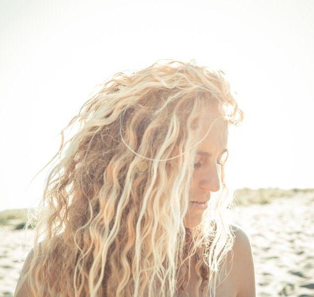 Sun bleached blonde hair