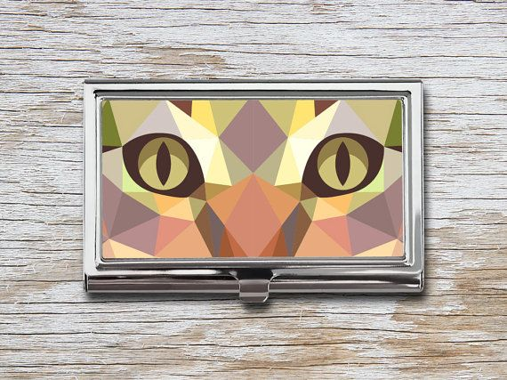 Geometric Cat Business Card Case - Triangle Cat - Low Poly Cat - Card Holder