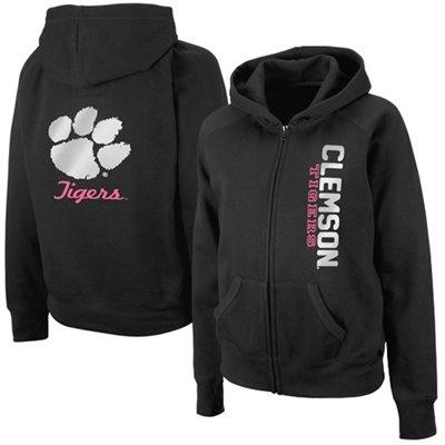 Clemson Tigers Ladies Charm Full Zip Hoodie - Black