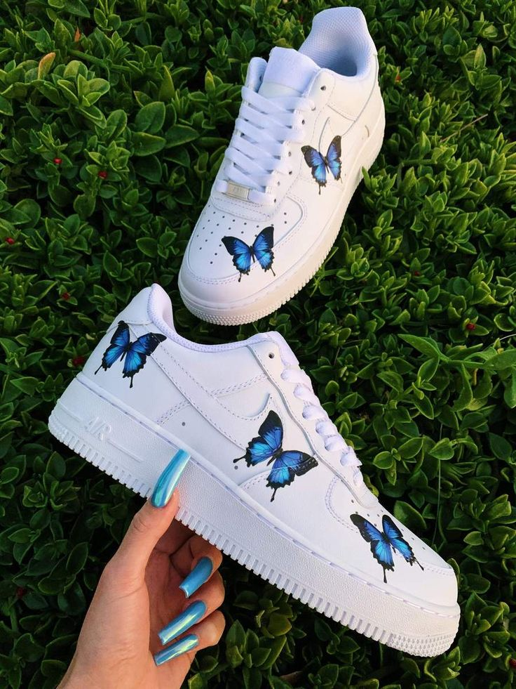 Blue Drip Butterfly AF1 in 2020 Nike air shoes, Custom
