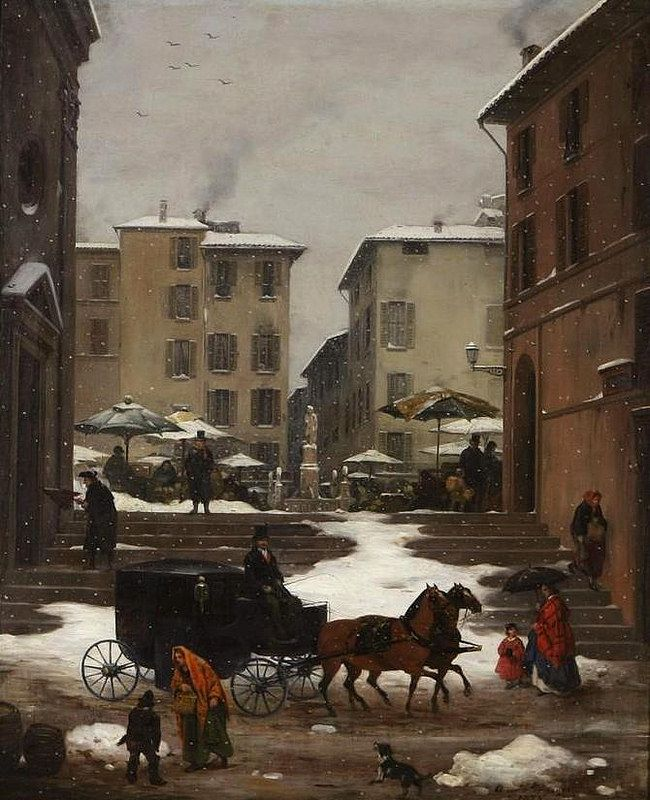 Angelo Inganni (1807-1880) - Veduta della Piazza del Mercato di Brescia sotto la neve
