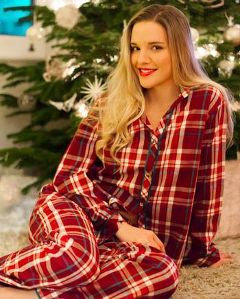 Emily Woven Long Sleeve Brushed Check Pyjamas