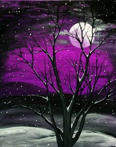30 Best Canvas Painting Ideas for Beginners, purple Sky moonrise with tree.