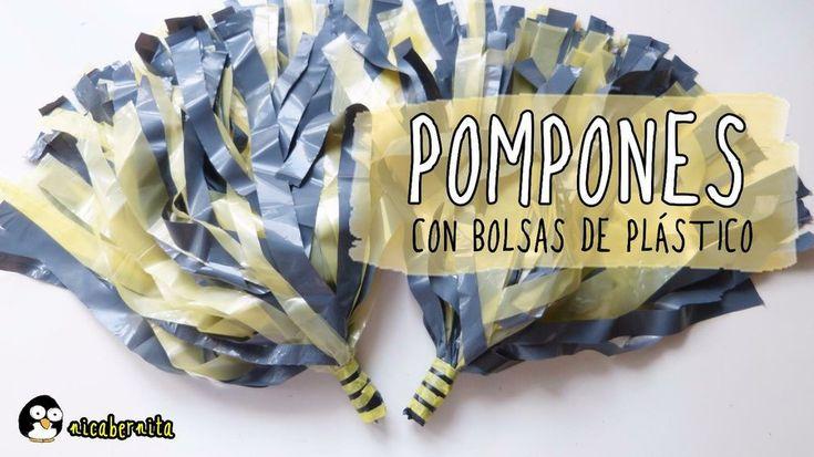 Pompones de cheerleader con bolsas de plástico. ¡Muy fácil!