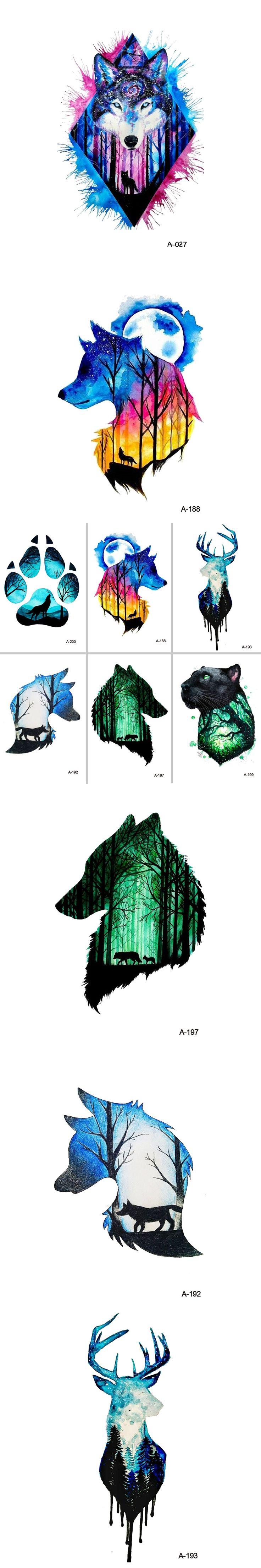 WYUEN Hot Design Wolf Head Animal Temporary Tattoo for Men Waterproof Tatoo Sticker Fashion Body Art A-027