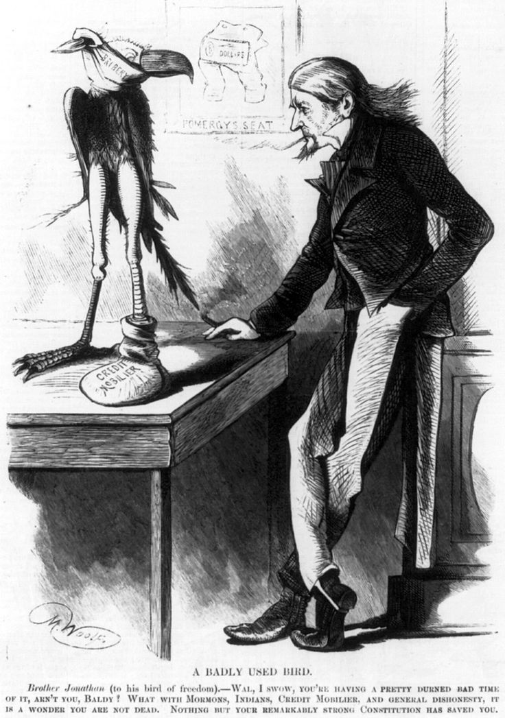 "An 1873 cartoon showing Brother Jonathan with an American Eagle wounded by ""Mormons, Indians, Credit Noblier, and general dishonesty."""