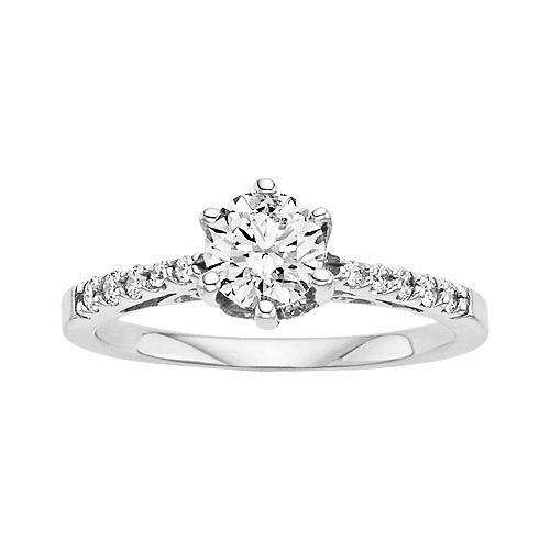 Fresh Diamond Engagement Ring in K White Gold
