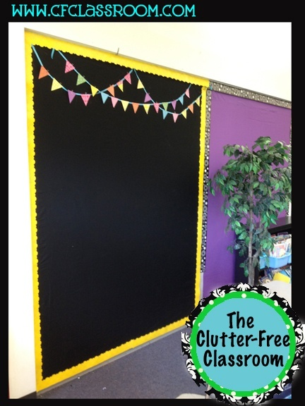 I like this board with black paper, yellow boarder and the little flags at the top.