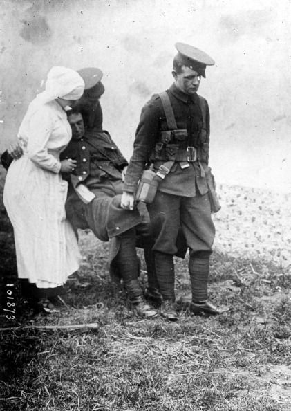 WWI, A wounded English soldier on the front. -Getty