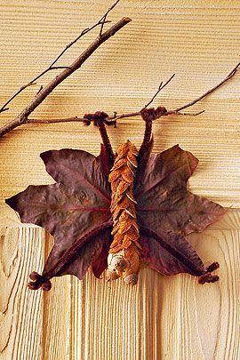 Fledermäuse basteln mit Blättern & Co.