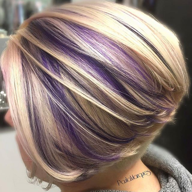 Throwback to this 2day process lifted from a level 5root & 7 mids-ends. After cutting off approx 10in to donate, I used @malibucpro DDL to lighten. Toned using @matrix Color Sync 10A, 10V, & 10P. We then used @joicointensity Light Purple & Amethyst. Haircut and color by Paula Marques @hairdiva73 To have your hair featured please tag @bobbedhaircuts #bob #bobhaircut #shorthair #beauty #greatstylist #boblovers #ilovebobs #bobsfordays #stackedbob #fantasyhair #underlights #lowlights…