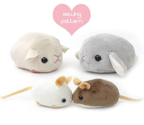 PDF sewing pattern – stuffed animal hamster mouse rat guinea pig rodent plush – cute kawaii plushie 4in chinchilla bunny rabbit gerbil mole
