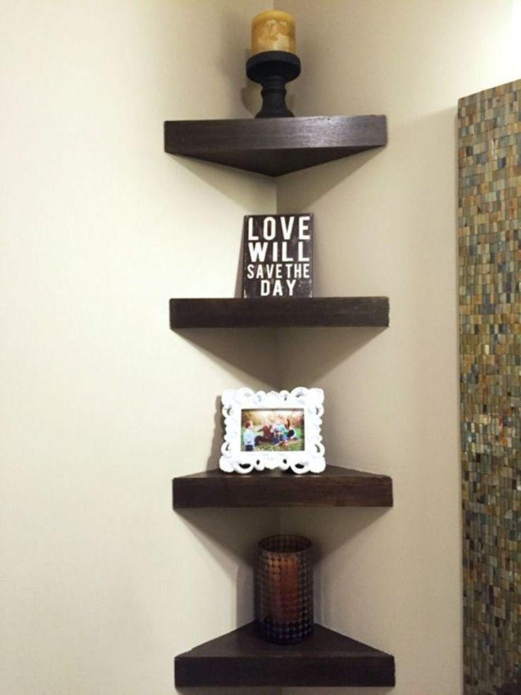 Inspiring 25 Attractive Small Corner Shelf Decorations For Your Living Room Hroo My Blog Corner Shelf Design Corner Decor Wooden Corner Shelf