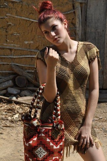A handmade mochilla and dress from Buena Onda's Tierra Collection 2014. Click to purchase direct from the Etsy Store!  https://www.etsy.com/shop/TheBuenaOnda