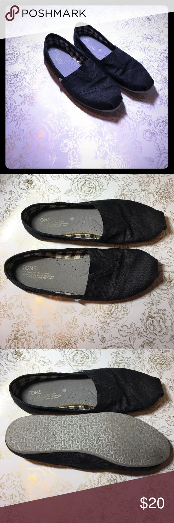Women's Dark Gray TOMS Women's Dark Gray TOMS. Not sure of the exact size but they fit like a 9.5-10. Worn but still in great condition. TOMS Shoes Flats & Loafers