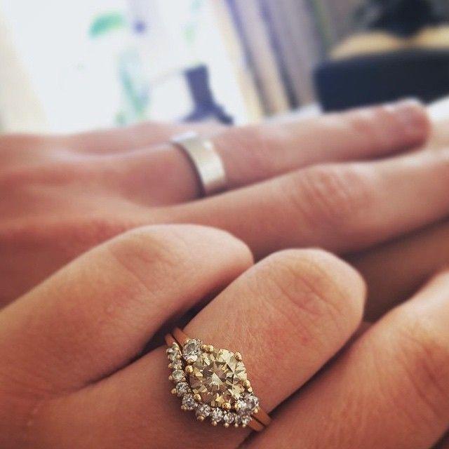 Hazeline Three Stone Ring & Tiara Curve wedding band Anna Sheffield