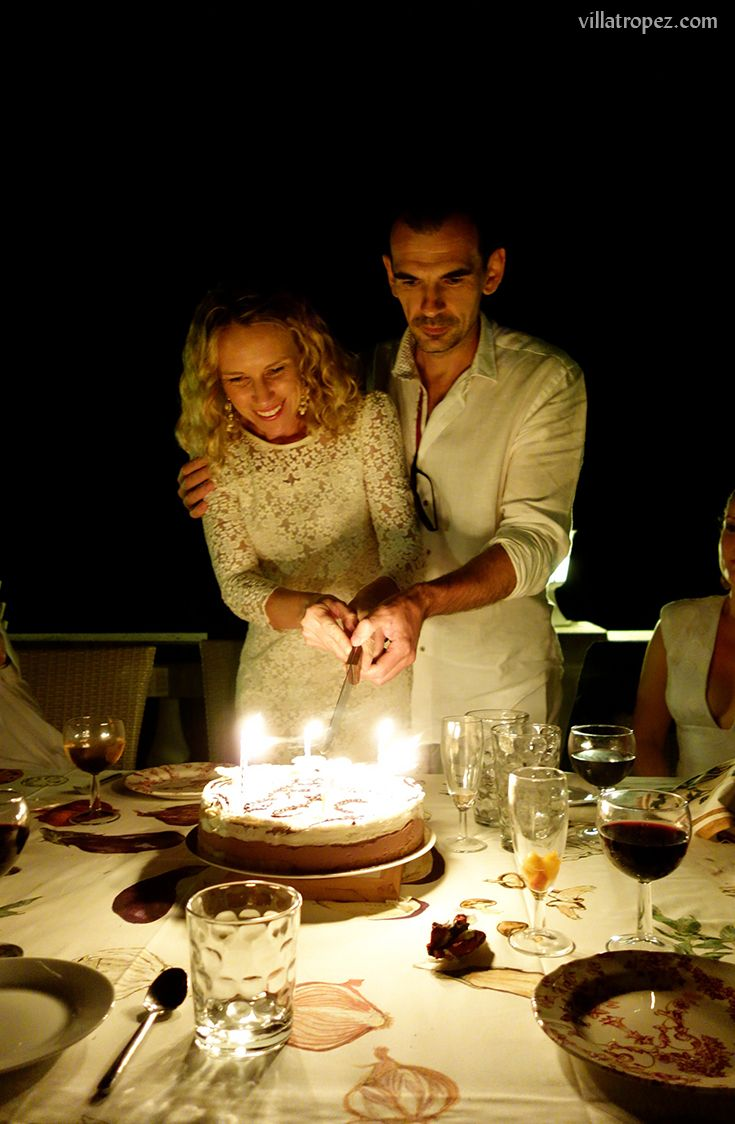 A Provence-themed birthday dinner. Chic white linens worn by the guests, beautifully contrasted by the colourful rustic tones of the dinner-table setting. Held in beautiful #VillaTropez in #Provence, near #StTropez rented by the  party guests. What a wonderful idea for any milestone birthday, whether it be a 30th, 40th, 50th, 60th, 70th or even 80th!