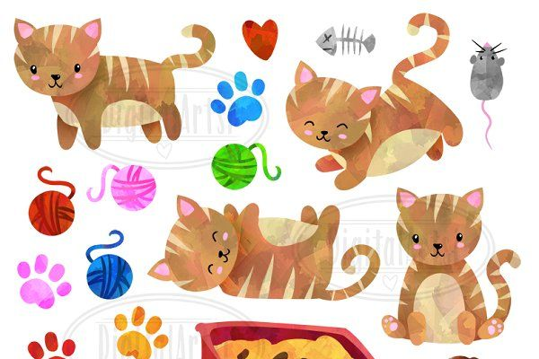 Watercolor Striped Cats Clipart by DigitalArtsi on @creativemarket