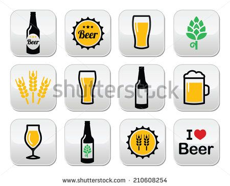 Beer colorful vector buttons set - bottle, glass, pint by RedKoala #alcohol #drink