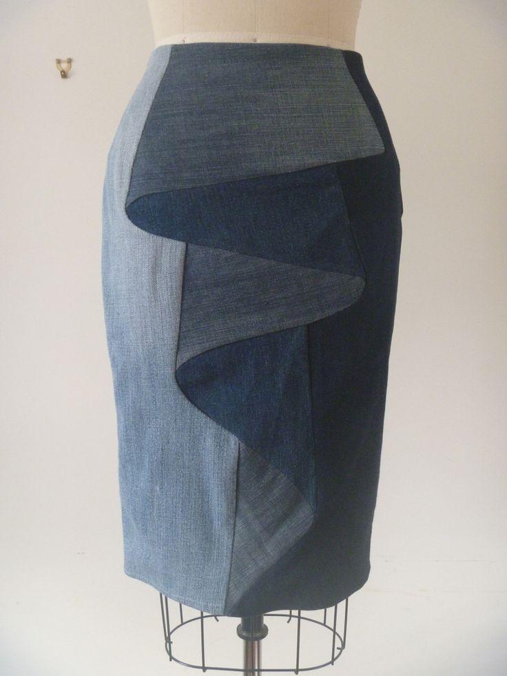 Denim Illusion Fold Skirt Upcycled fashion by Melbourne based fashion designer lucy blythe