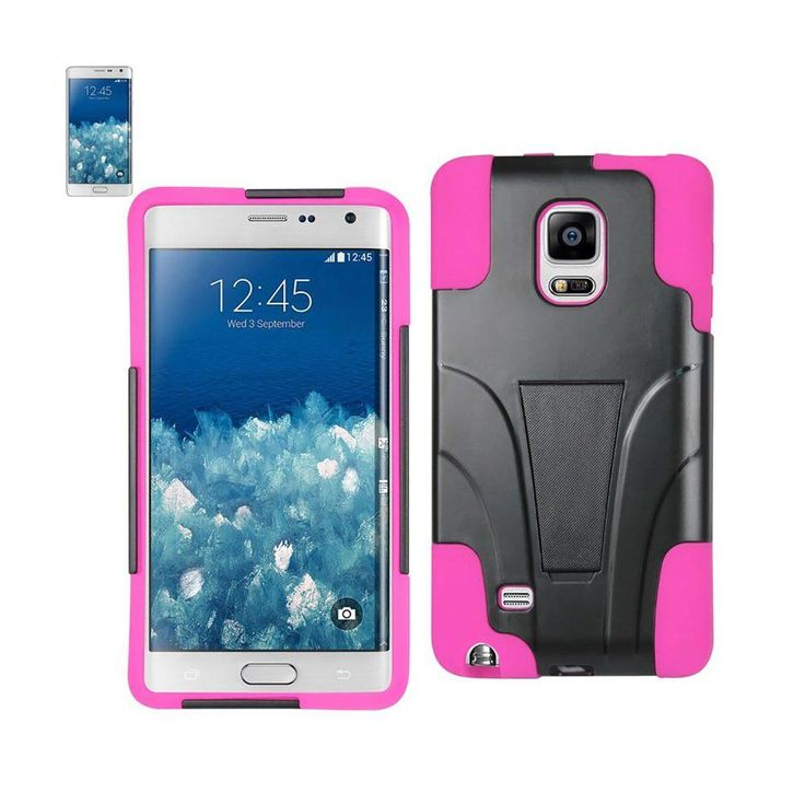 Reiko Silicon Case+Protector Cover Samsung Galaxy Note Edge New Type Kickstand Hot Pink Black