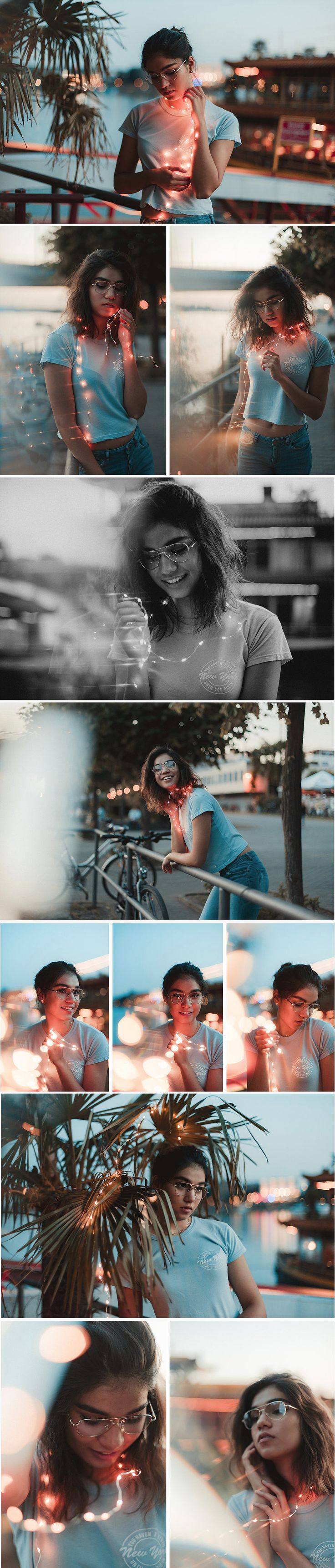 Tropical Dreams. Ein Photoshoot im Brandon Woelfel Style. Portrait Shooting mit Fairylights am Hafen. Fotoshooting Idee, Portrait Foto Idee Lichterkette, Sommer Fotoshooting Idee