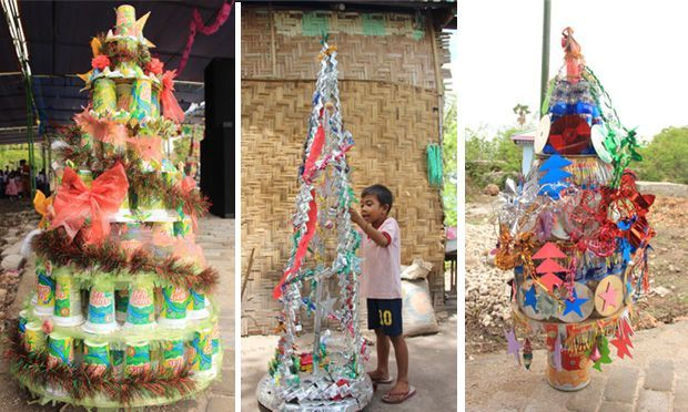 Christmas is coming. Christmas trees are everywhere.In East Sumba, Indonesia, it is easy to find many Christmas trees at churches. But in rural homes, Christmas trees are hard to find. Due to their expensive prices, many families can't afford a Christmas tree for their home.