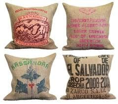 Upcycled burlap coffee bag pillows