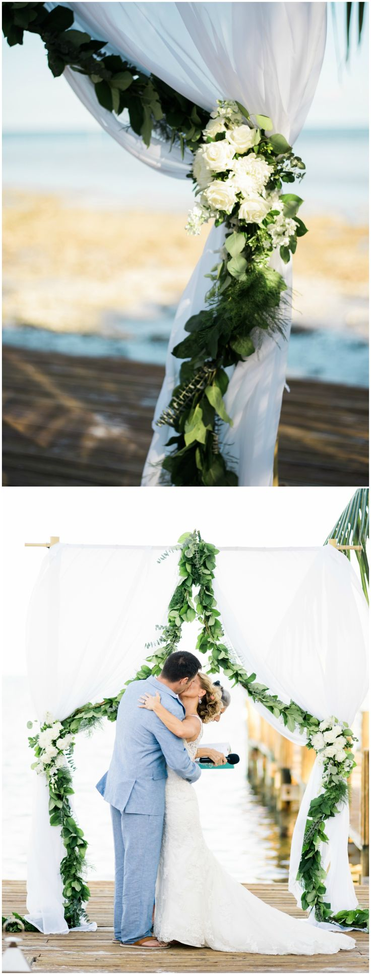 Outdoor coastal wedding ceremony, white wedding arbor, draped fabric, leafy garland, cream roses // Care Studios