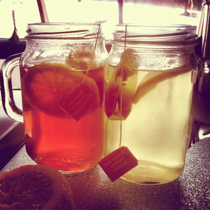 pomegranate raspberry and ginger peach green teas with lemon and honey ...