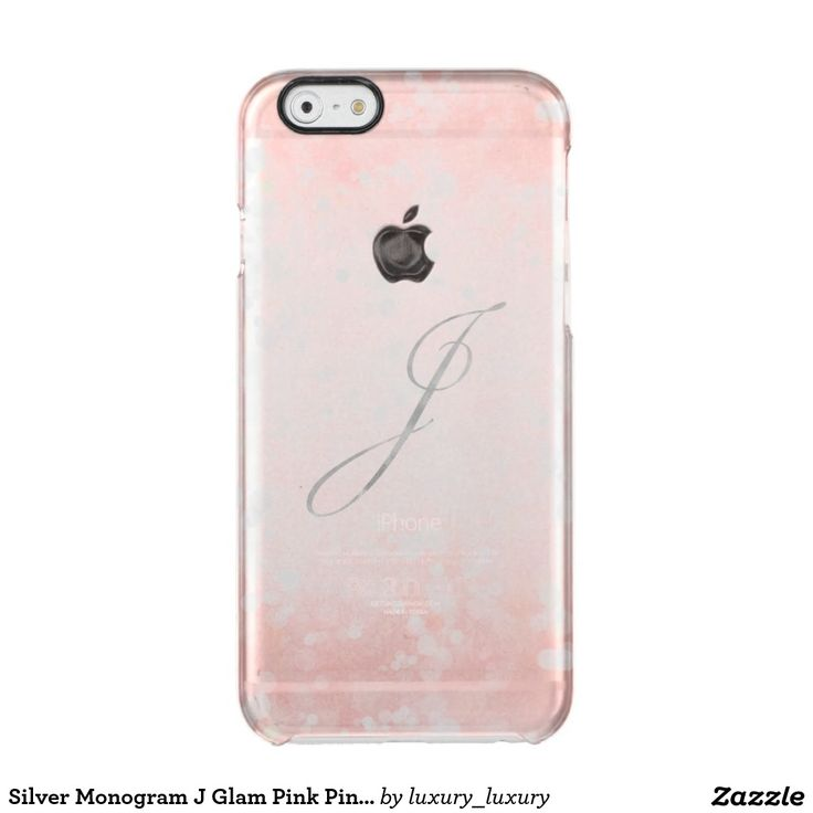 Silver Monogram J Glam Pink Pink Bokeh iPhone Clear iPhone 6/6S Case