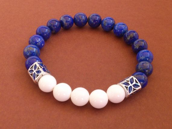 Lapis Lazuli Bracelet/Gemstone Stretch Bracelet by MACRANI on Etsy