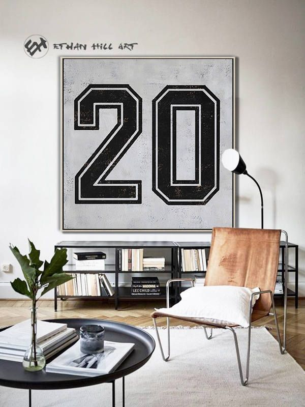 Black and White Favorate numbers, Lucky number 20 Painting Large Canvas Art, hand painted Large Wall Art. FREE shipping -Ethan Hill Art #Z22