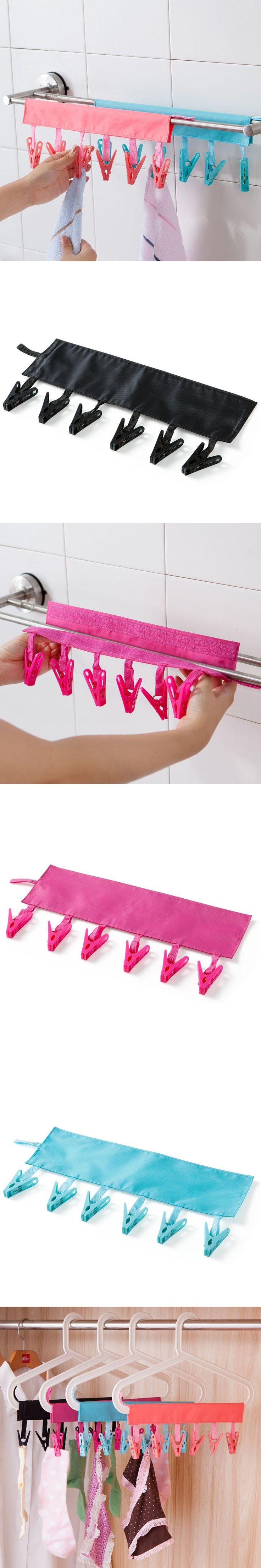 1pc Towel Underwear Socks Foldable Drying Racks Bathroom Rack Clothespin Outdoor Travel Portable Folding Cloth Hanger Clips