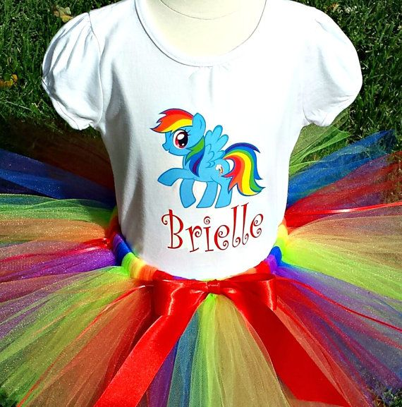 Custom Rainbow Dash My Little Pony Birthday Tutu Outfit - ANY AGE - Personalize, 1st First Birthday Tutu Set - Tutu, Tee and Headband