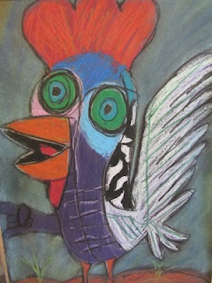"roosters inspired by Picasso's ""Le Coq"" from A Glimmer of Light - (Examples in Kindergarten drawer)"