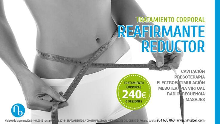 ¡Consigue los mejores resultados! Bono de 6 sesiones de TRATAMIENTO PERSONALIZADO REAFIRMANTE – REDUCTOR. Hemos preparado una combinación de Tratamientos con diagnóstico totalmente personalizado: medición de grasa, peso, volumen y valoración de tipo de celulitis, mala circulación o retención de líquidos. Solo hasta el 30 de abril.  #estetica #belleza #adelgazar #celulitis #tratamientos #cavitacion #presoterapia #mesoterapia #radiofrecuencia #ofertas #sevilla