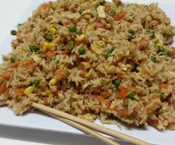 Non-fry Egg fried rice! Makes about 8-10 portions