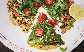 Gluten-Free Salmon, Pesto & Goats Cheese Pizza!