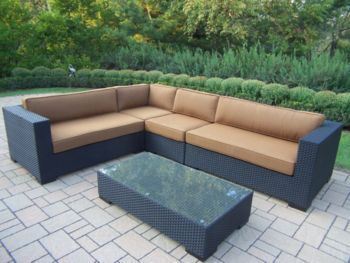Hampton 5pc Resin Wicker Sectional with Cushions  Hampton 5Pc Resin Wicker Sectional with Cushions Hampton 5pc Resin Wicker Sectional with Cushions are made for all weather resin wicker sets and are the perfect addition to any outdoor setting. They add beauty, style and functionality to your home, garden or back yard patio.