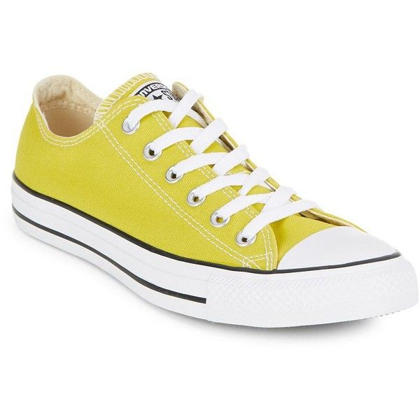 Converse All-Star Unisex Sneakers ($22) ❤ liked on Polyvore featuring shoes, sneakers, converse, shoes - sneakers, yellow, toe cap shoes, lace up sneakers, cap toe shoes, lace up shoes and laced shoes