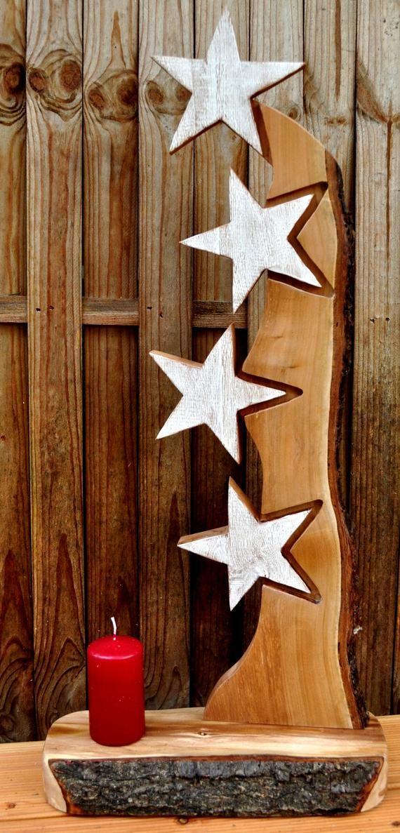Holzbrett Holzschild Winter Stele Sterne Advent Weihnachten Holzdeko Winterdeko