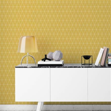Superfresco Easy Symmetry Triangolin Wallpaper, Mustard | ACHICA