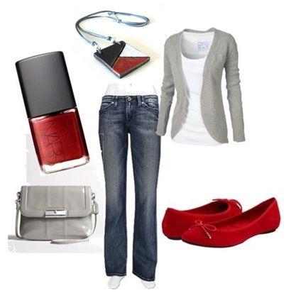 outfit rosso-grigio